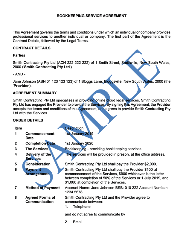 Bookkeeping Service Agreement