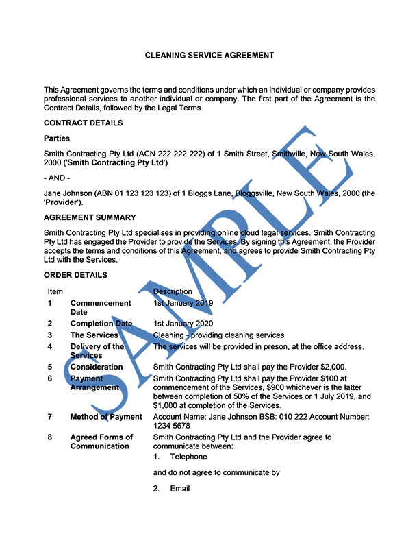 Cleaning Service Agreement
