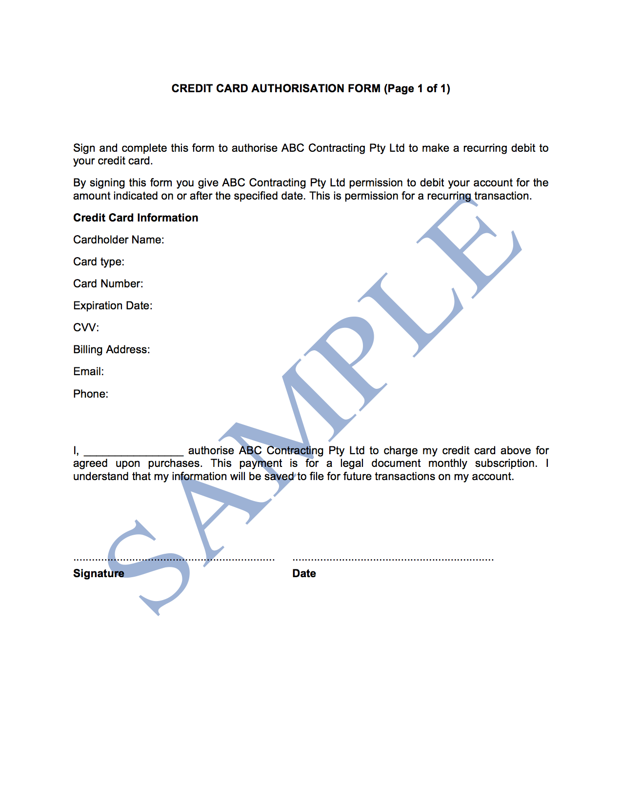 Credit Card Authorisation Form - Free Template | Sample ... on credit card consent form template, credit card authorization form template, credit card approval form template,