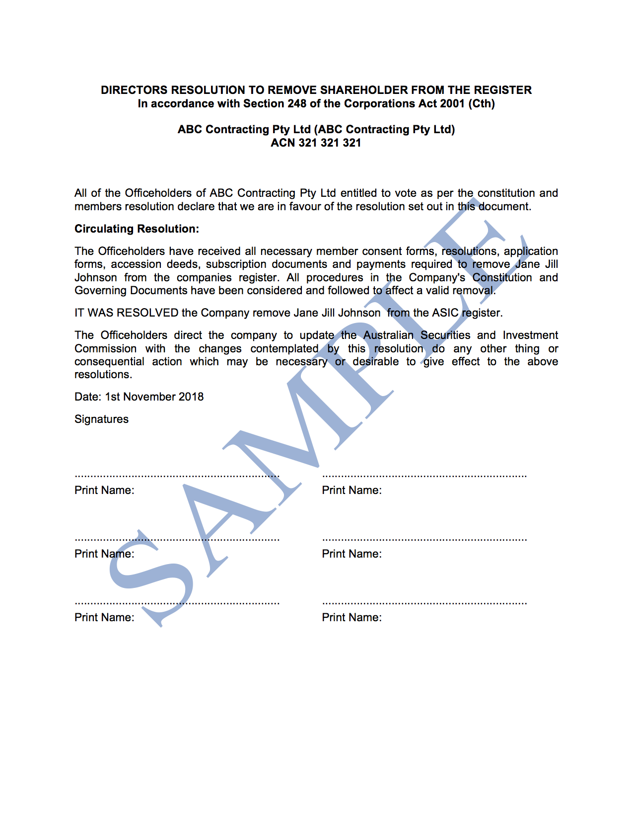 Directors Resolution to Remove Shareholder from the Register