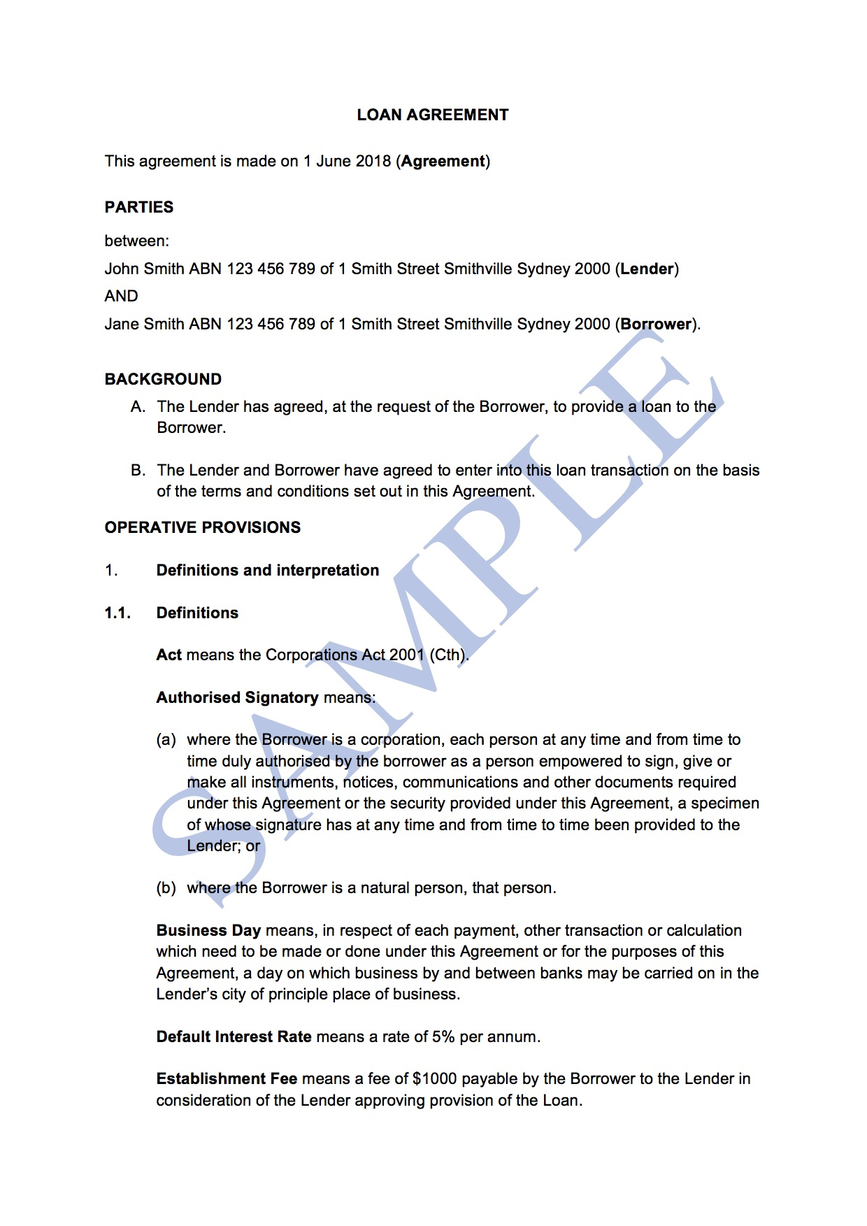 Loan Agreement With Interest Free Template Sample Lawpath