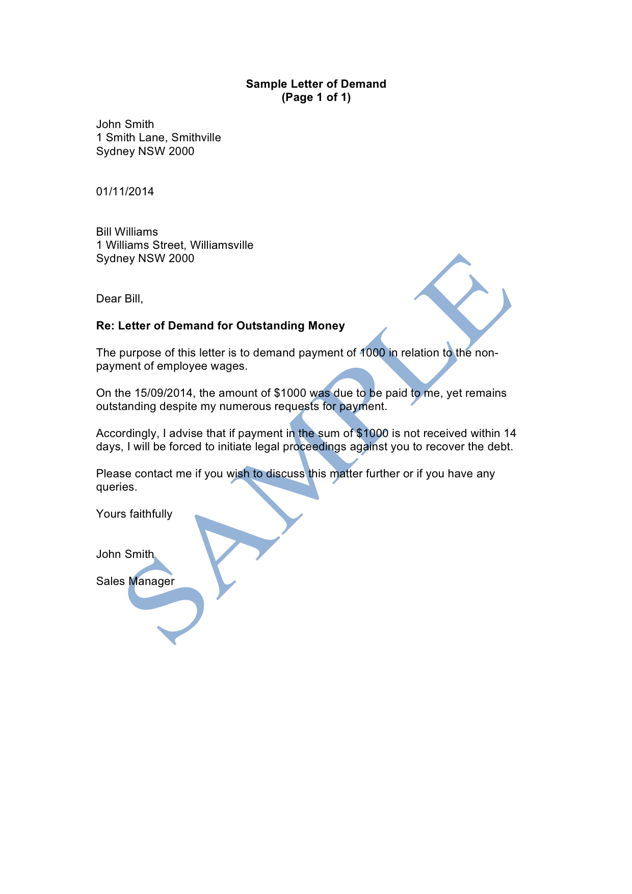 Letter Of Demand Sample