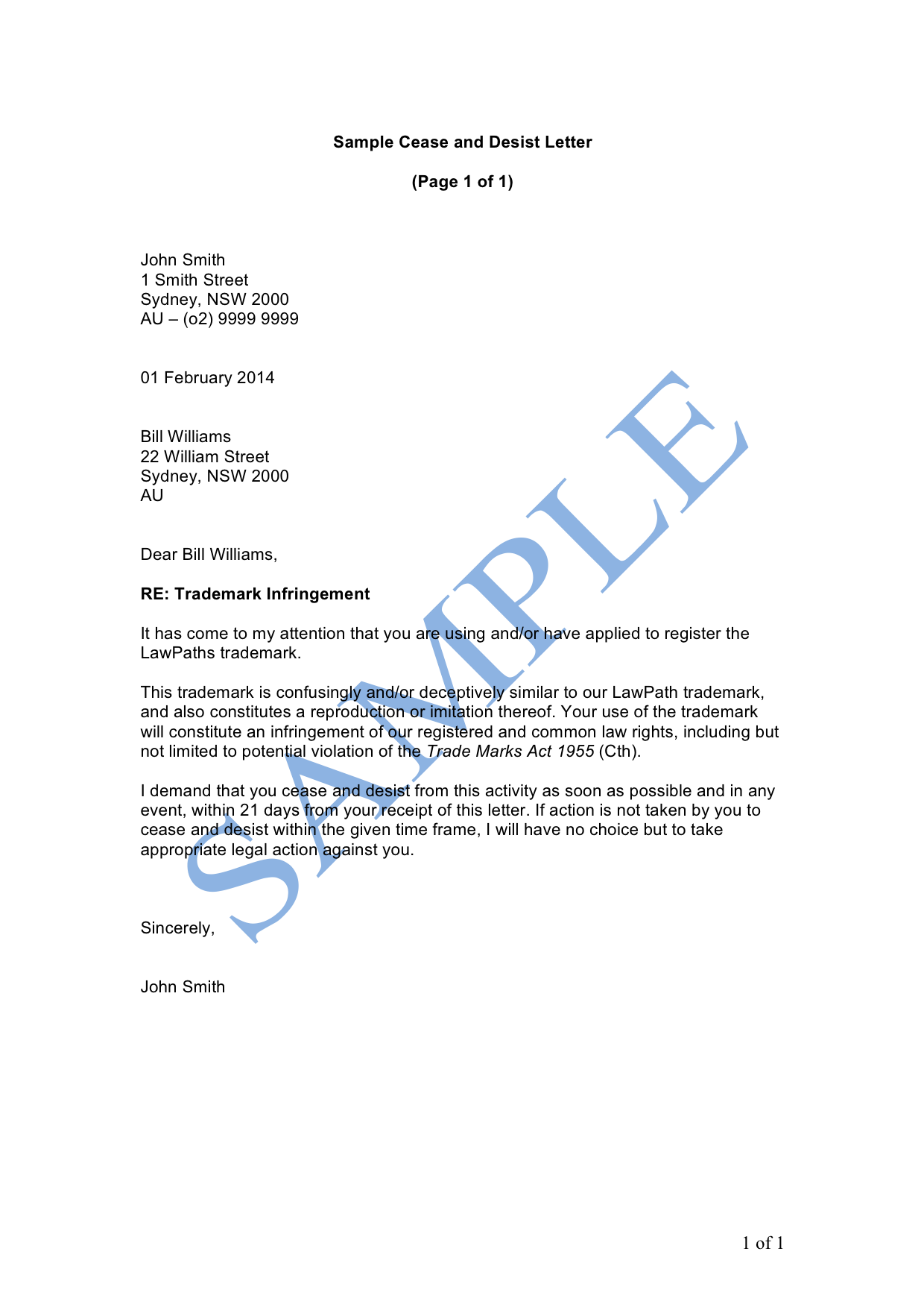 Infringement Review Letter Sample