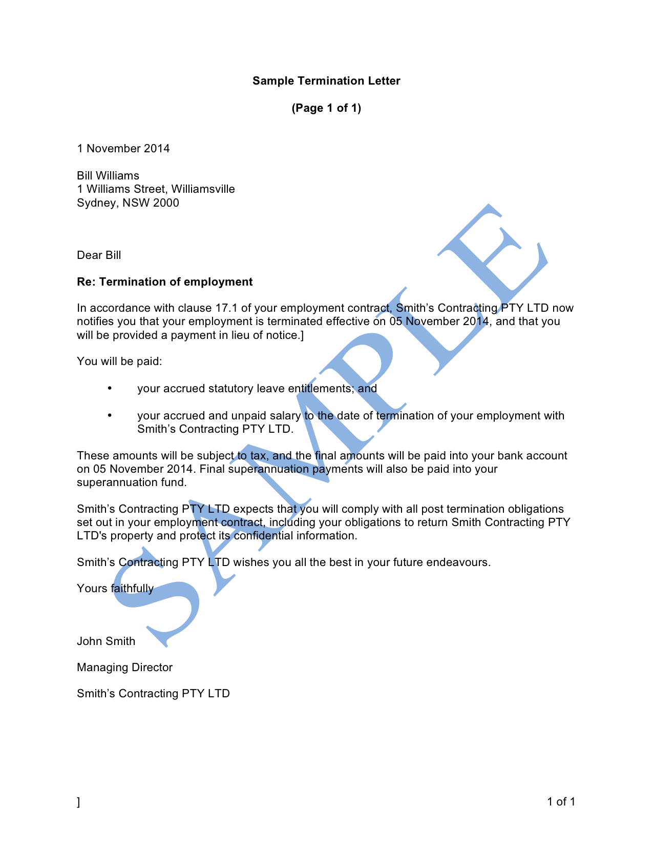 Termination letter (Notice or Payment in Lieu)
