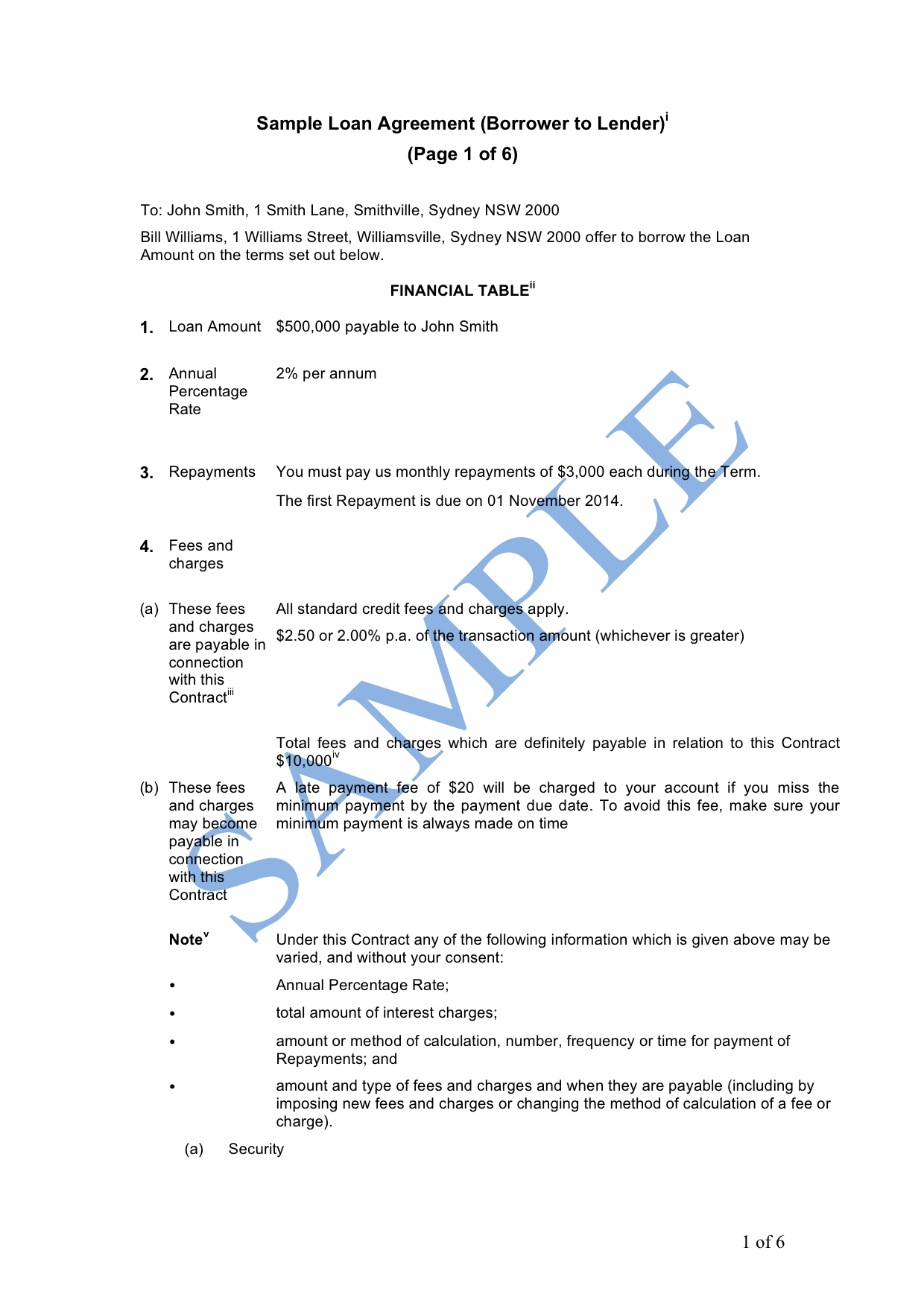Loan Agreement Borrower to Lender Sample LawPath – Sample of Loan Contract