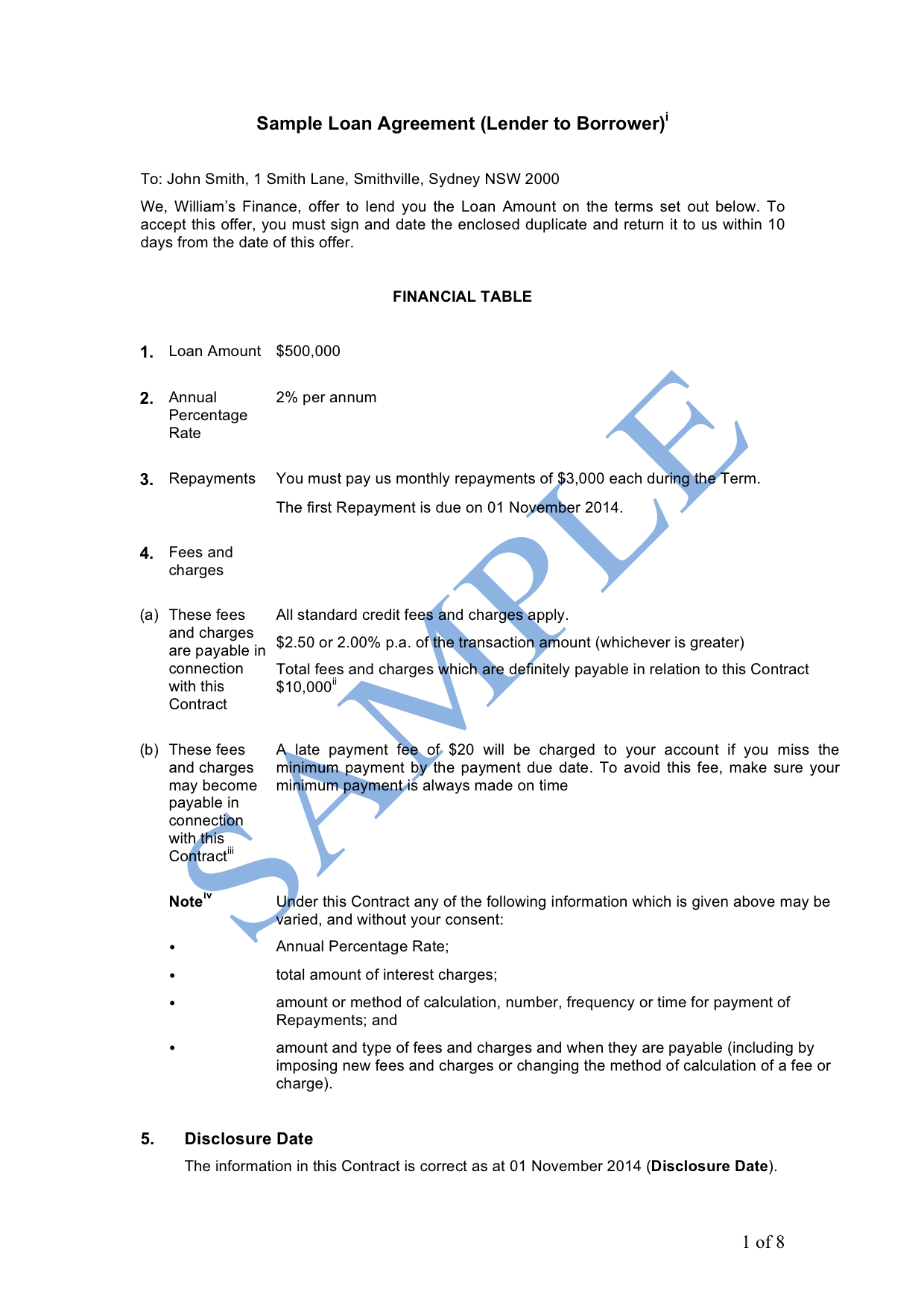 Doc468605 Sample of Loan Contract 5 Loan Agreement Templates – Financial Loan Agreement Template
