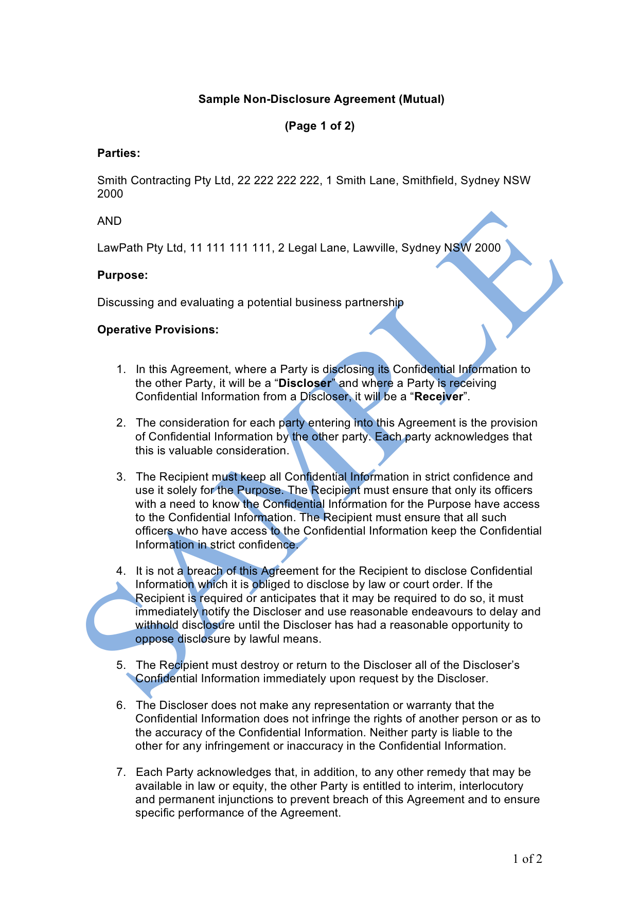 Non-Disclosure Agreement (Mutual)