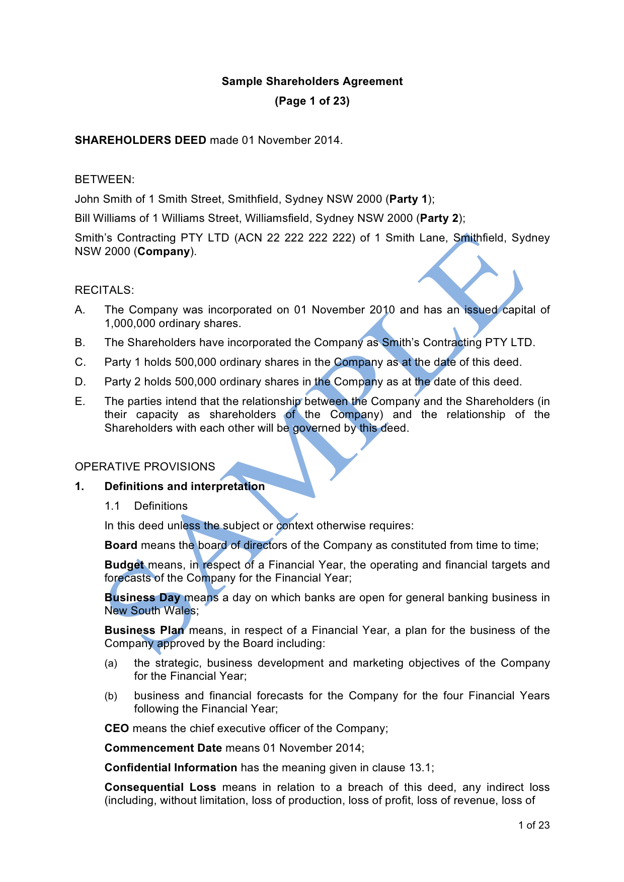 Shareholders Agreement Sample - LawPath