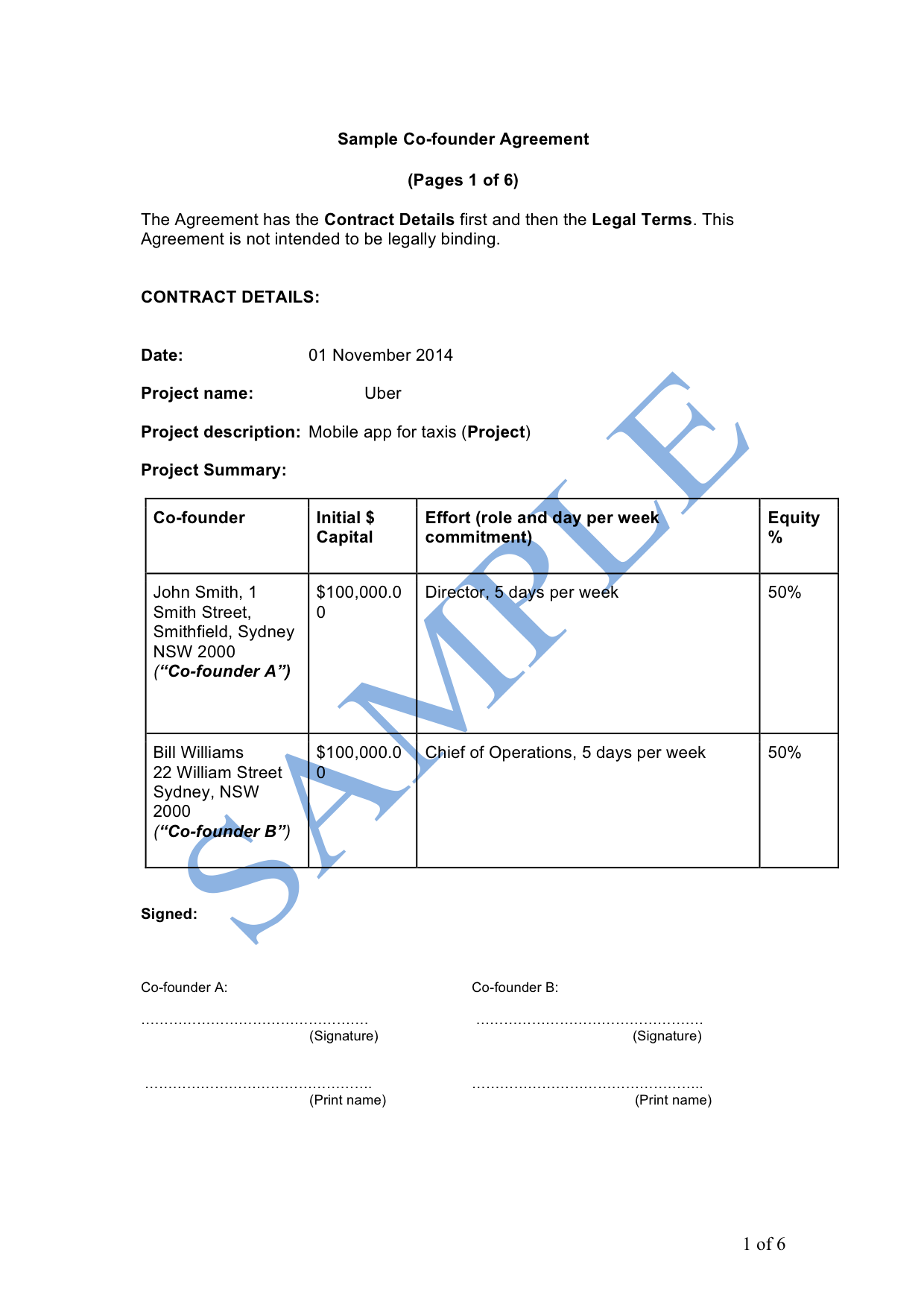 Founders Agreement Template | Co Founder Agreement Sample Lawpath