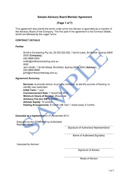 Advisory Board Member Agreement