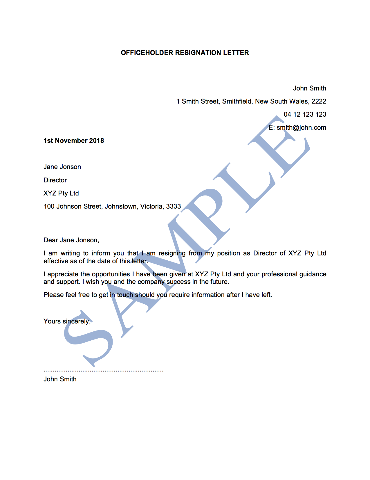 Officeholder Resignation Letter