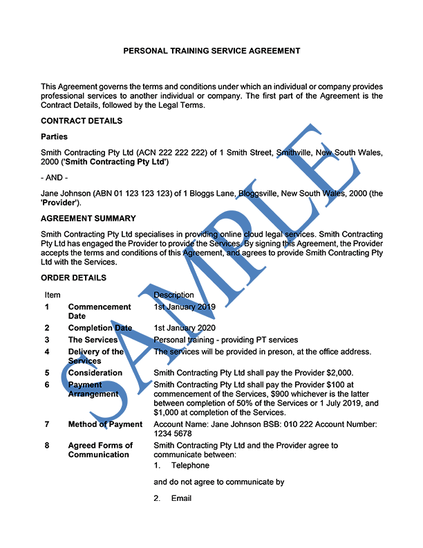 Personal Training Service Agreement