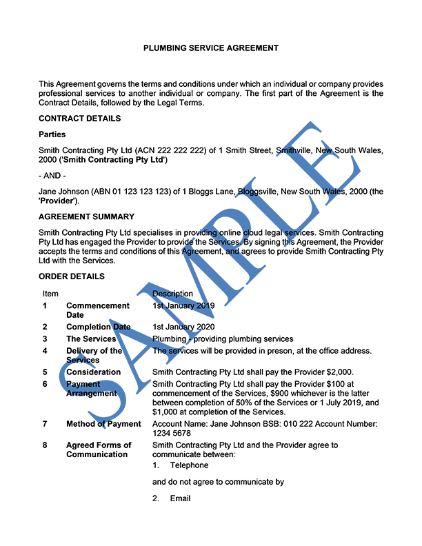 Plumbing Service Agreement