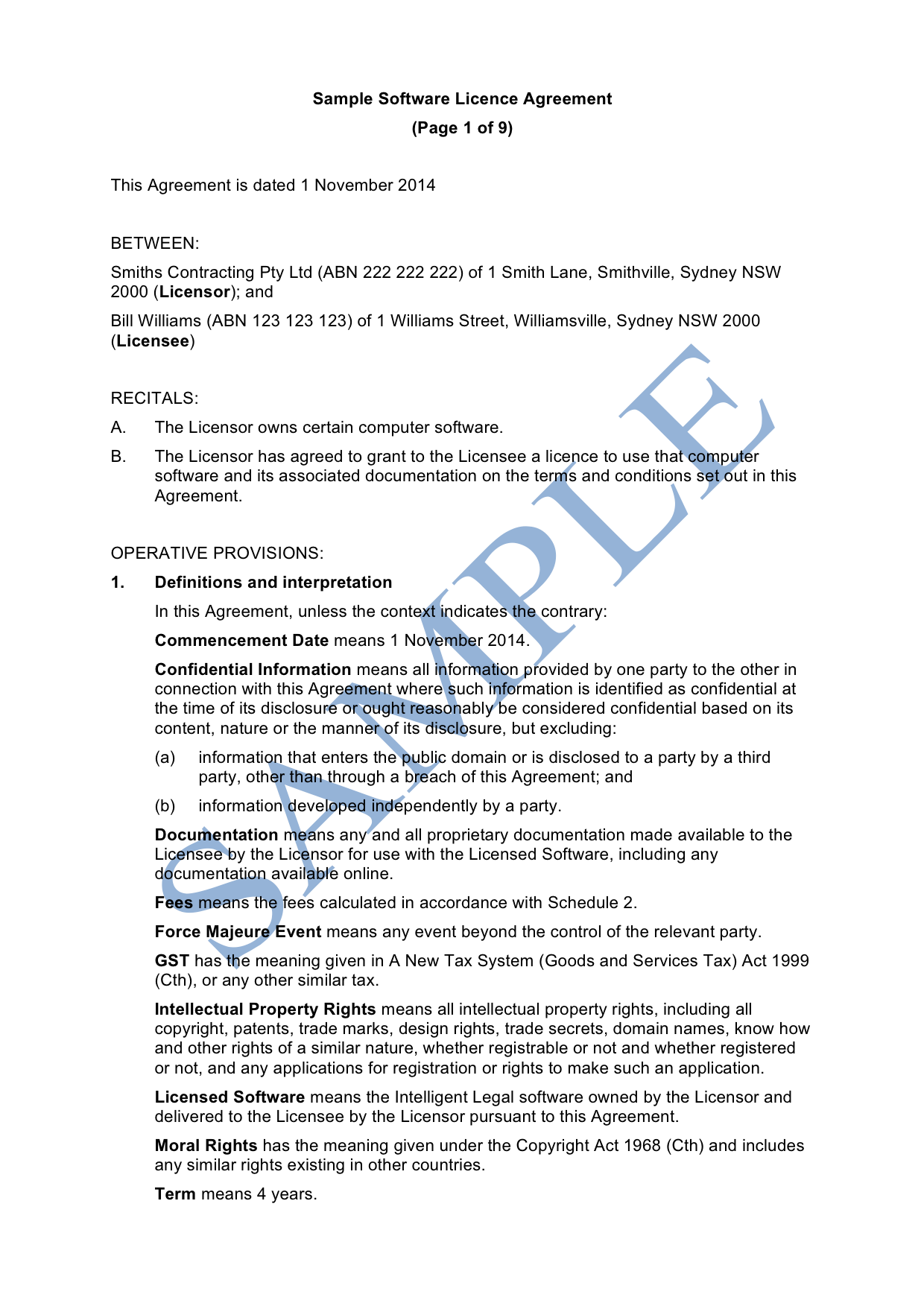 Software License Agreement Licensee Free Template