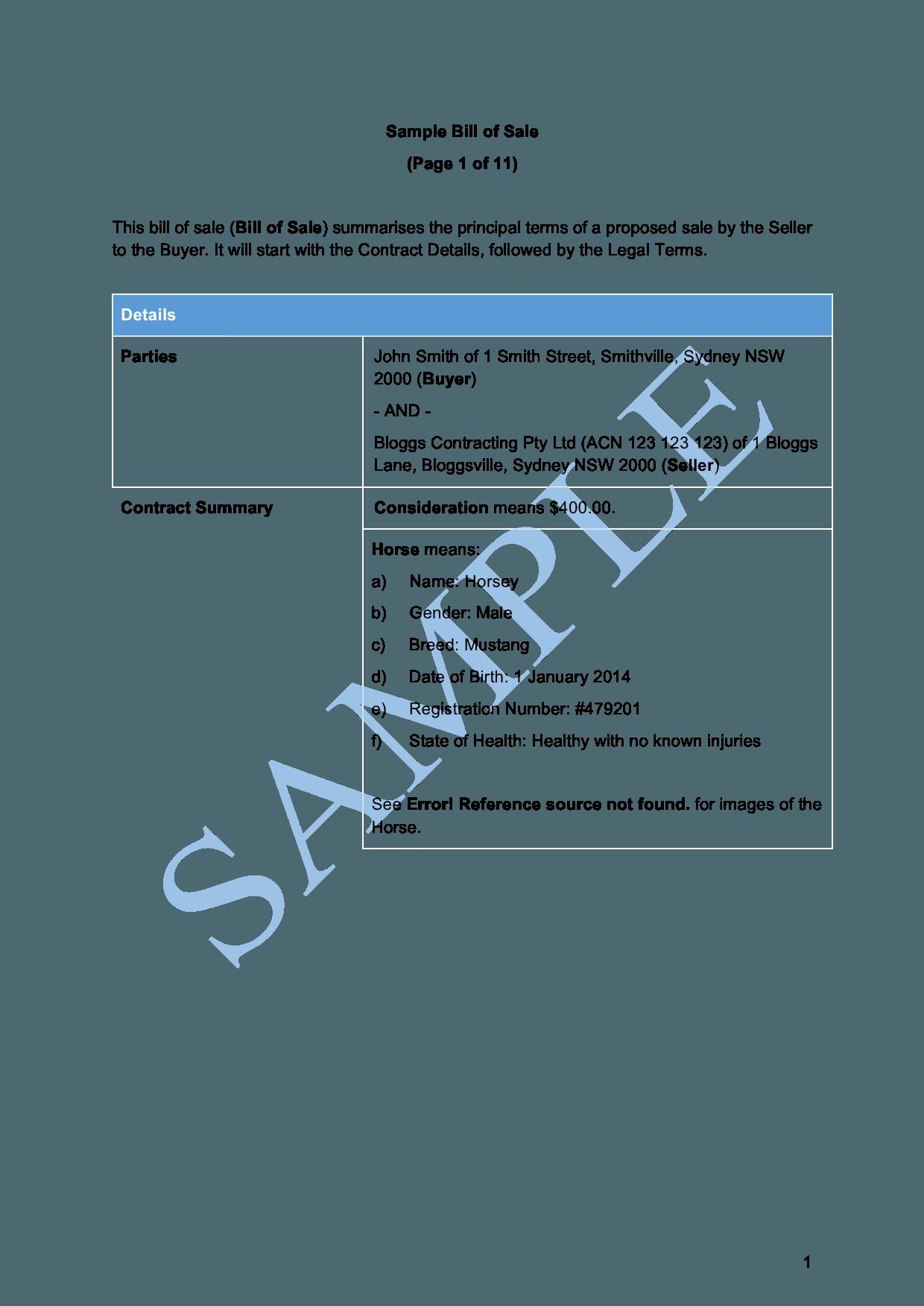 Bill Of Sale Car Free Template Sample Lawpath