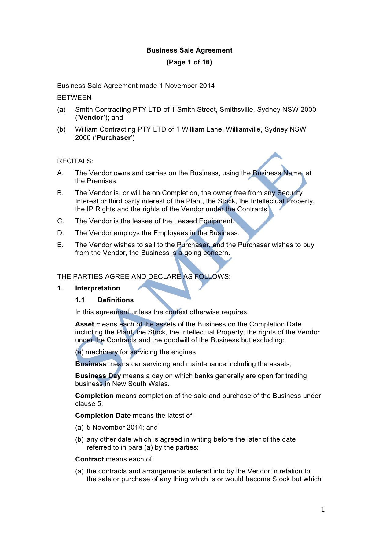 Business Sale Agreement