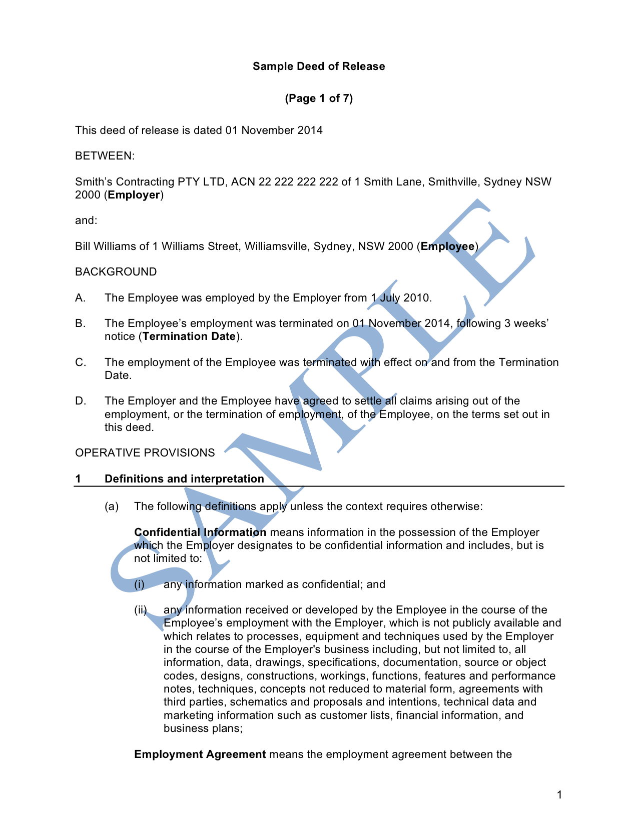 Deed Of Release Sample  Lawpath