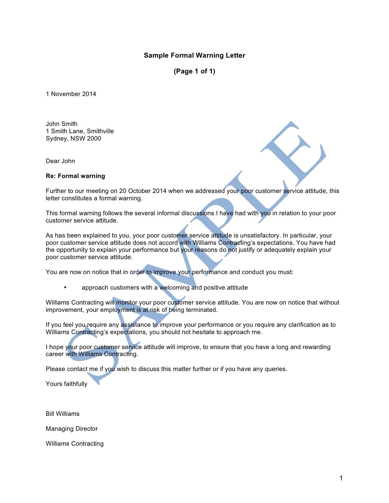 Formal Warning Letter (Unsatisfactory Performance)