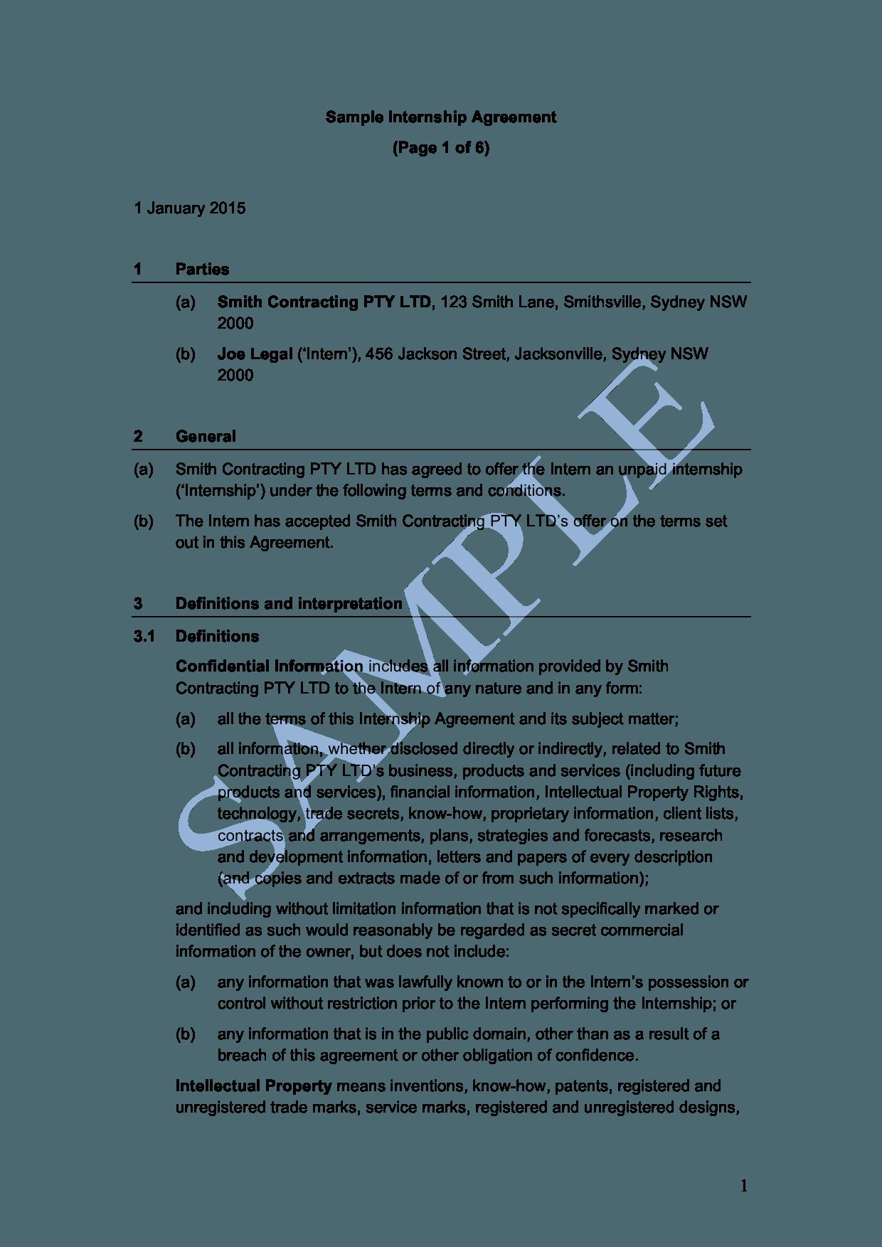 Internship Agreement Free Template Sample Lawpath