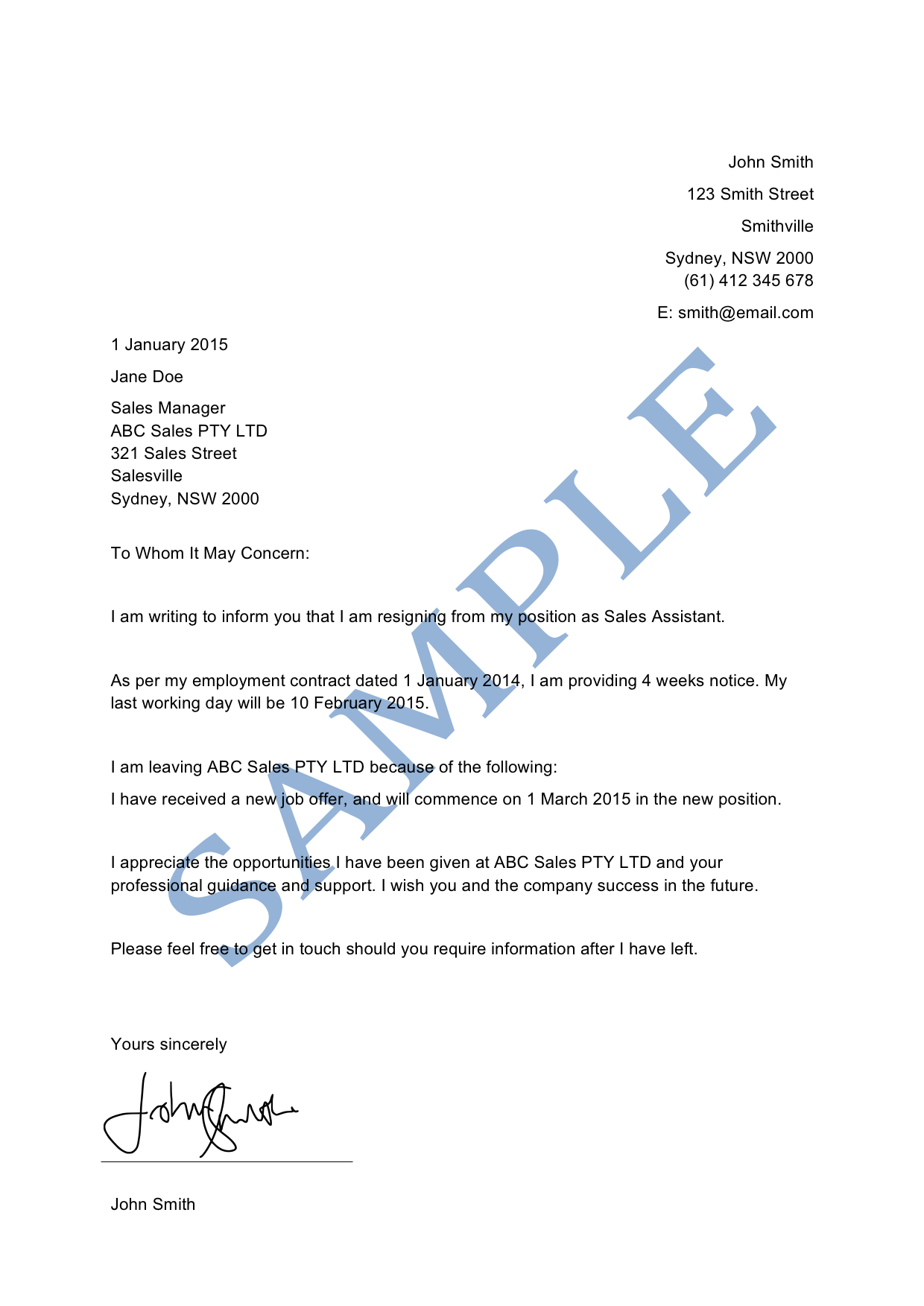 Letter Of Resignation Sample Lawpath