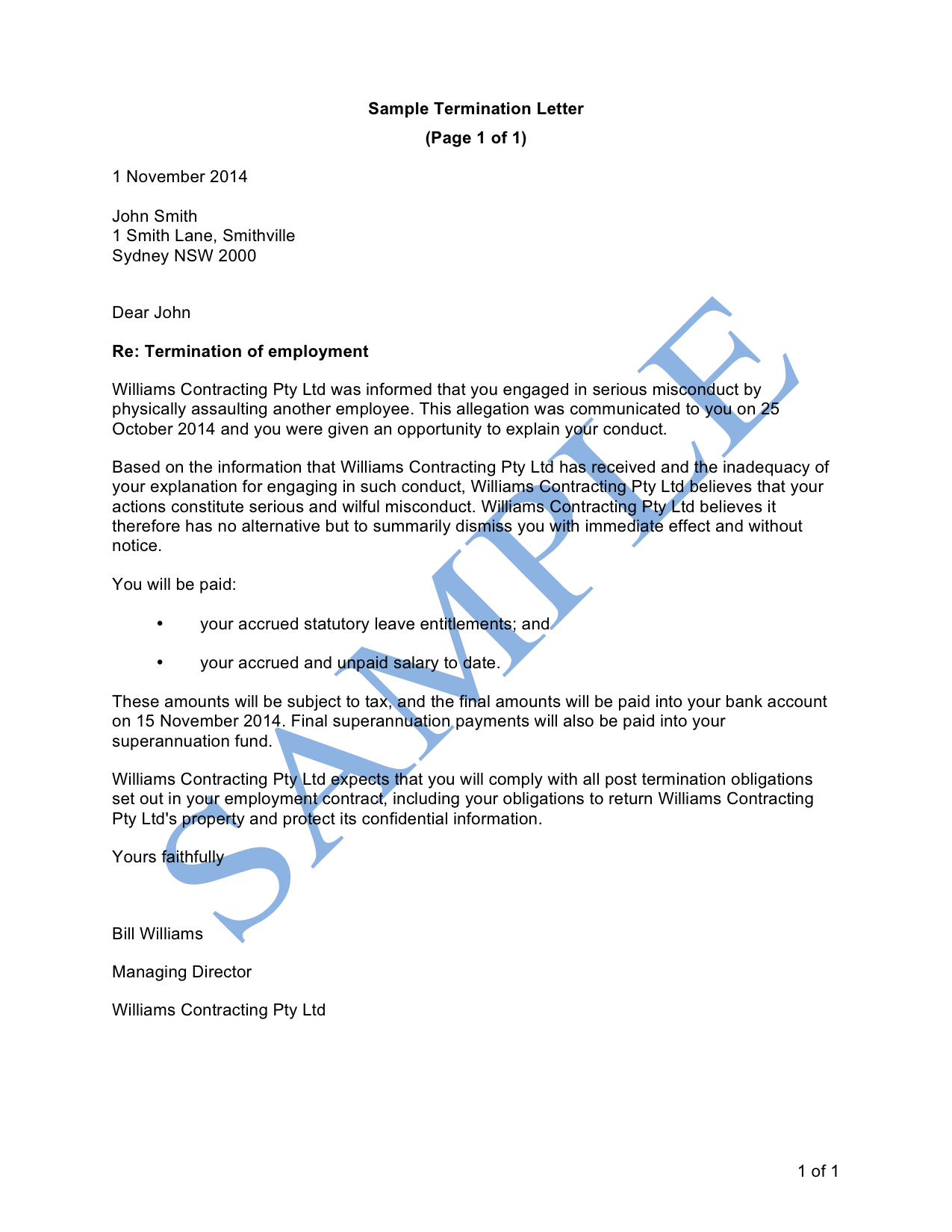Termination Letter (Serious Misconduct)