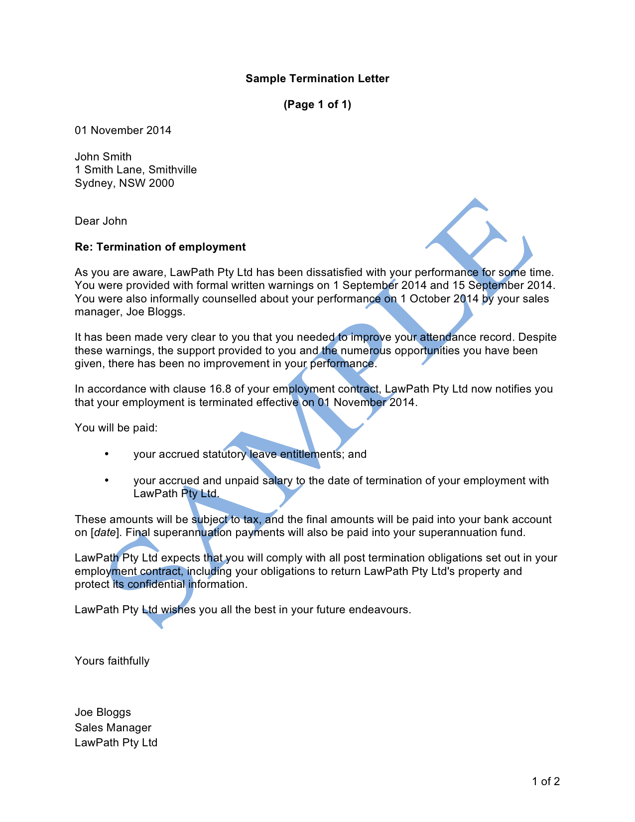 Termination letter (Poor Performance)