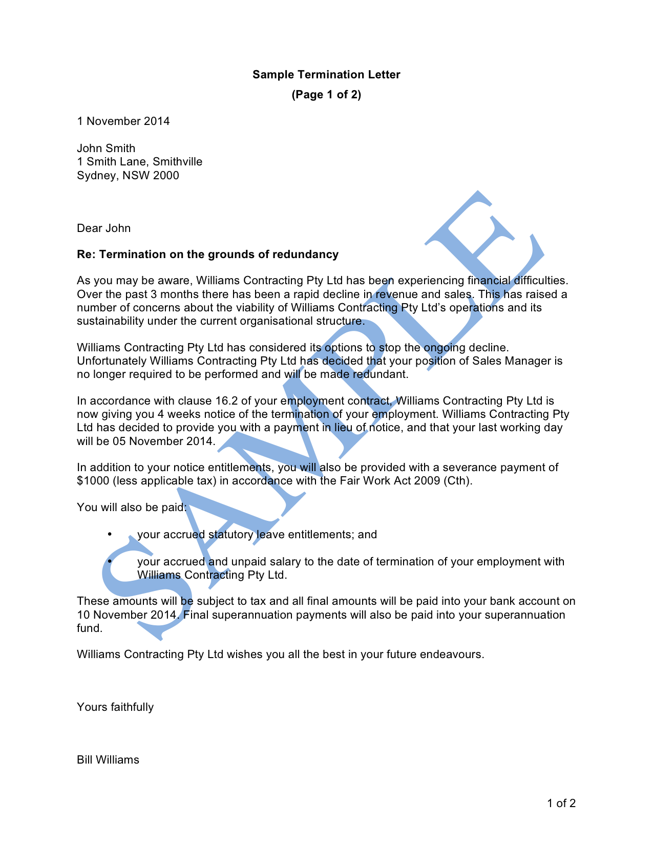 Termination letter (Redundancy)
