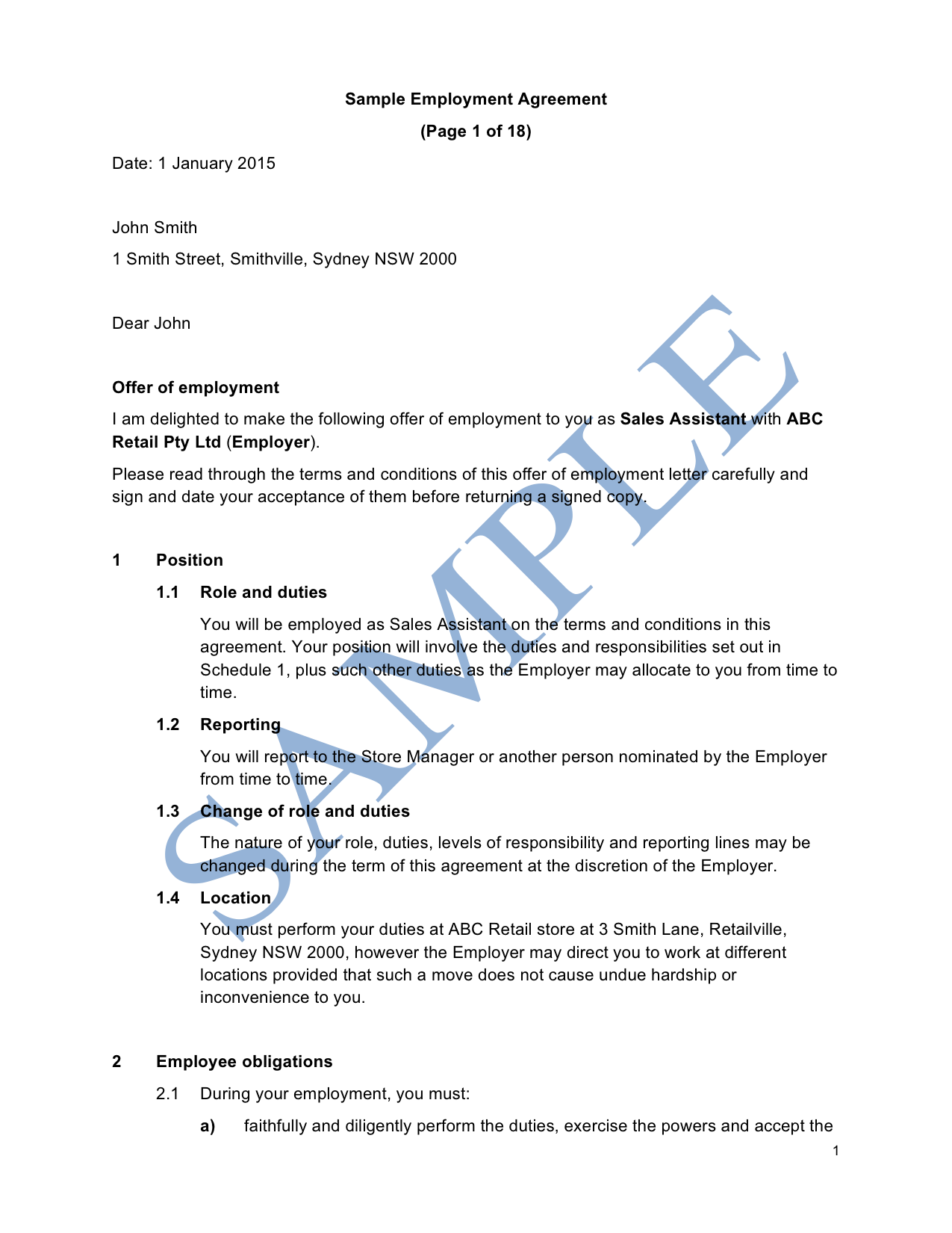 Part Time Employment Agreement