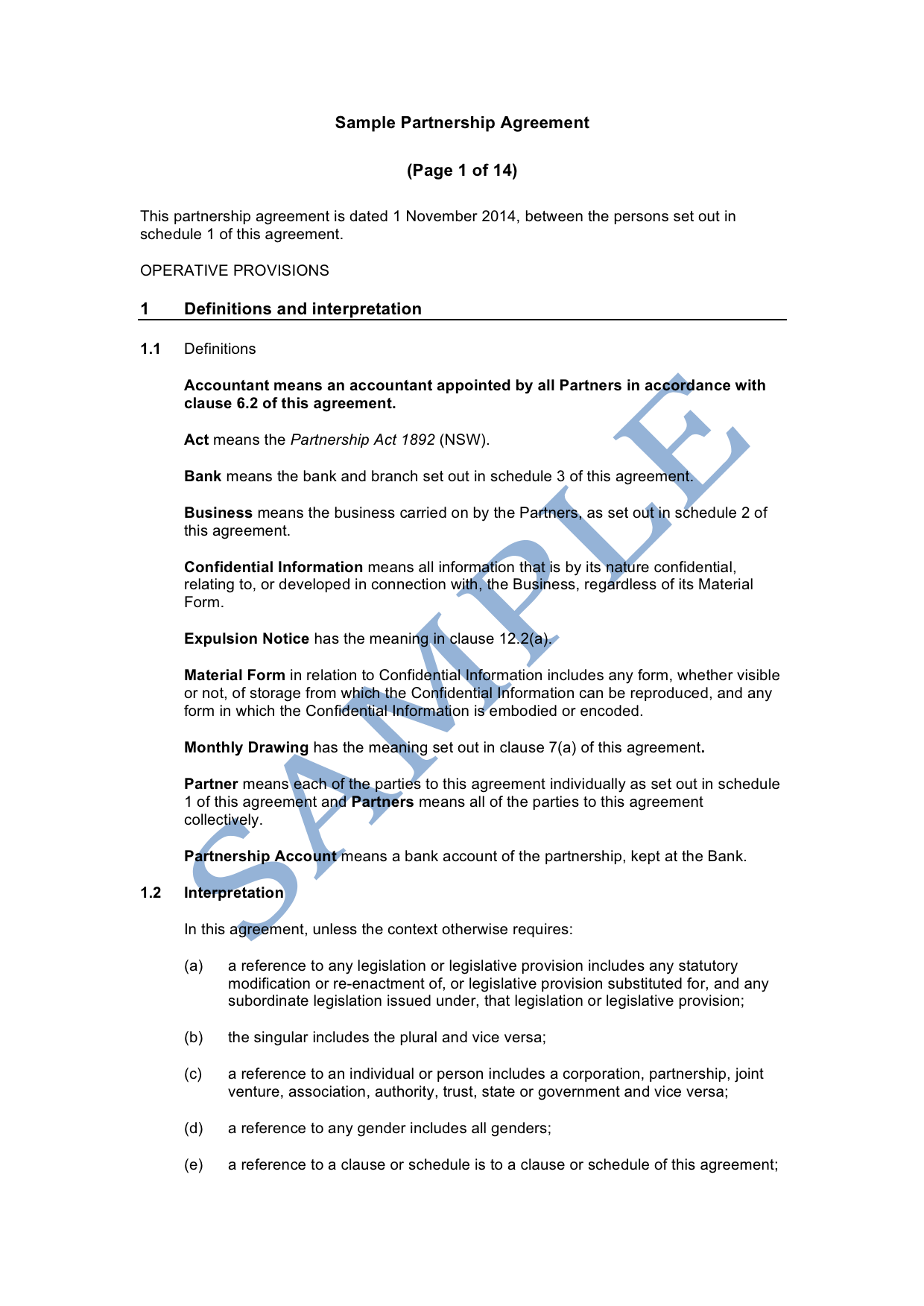 Partnership Agreement Sample Lawpath
