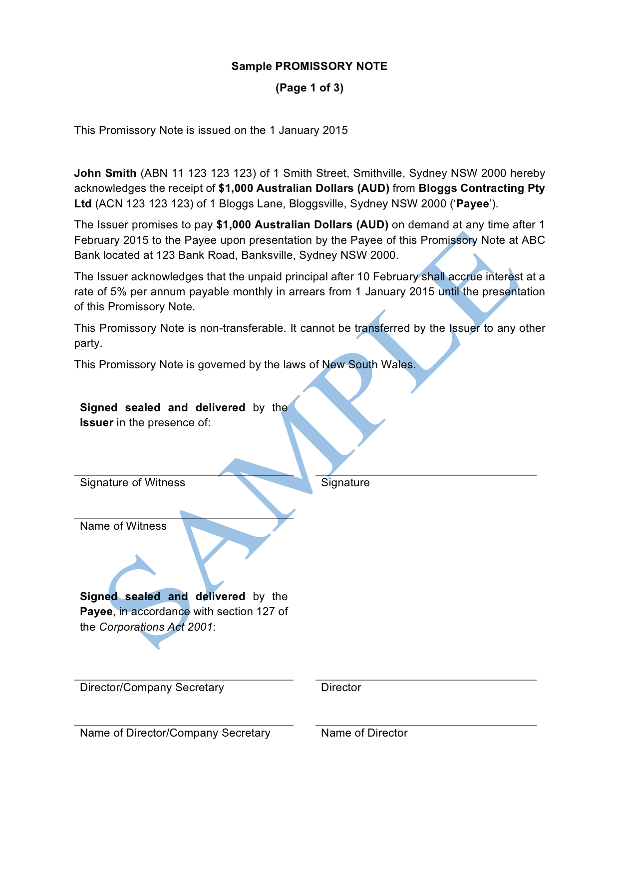 Promissory Note Free Template Sample Lawpath