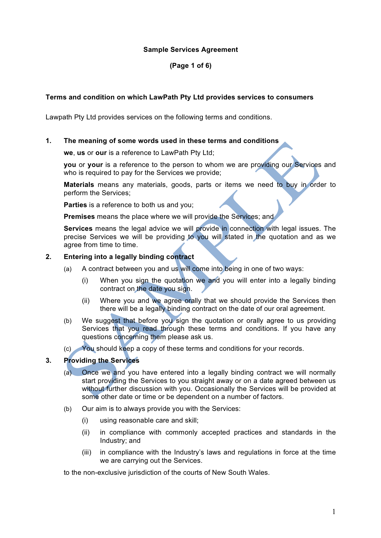 Services Agreement (Supply to a Customer)