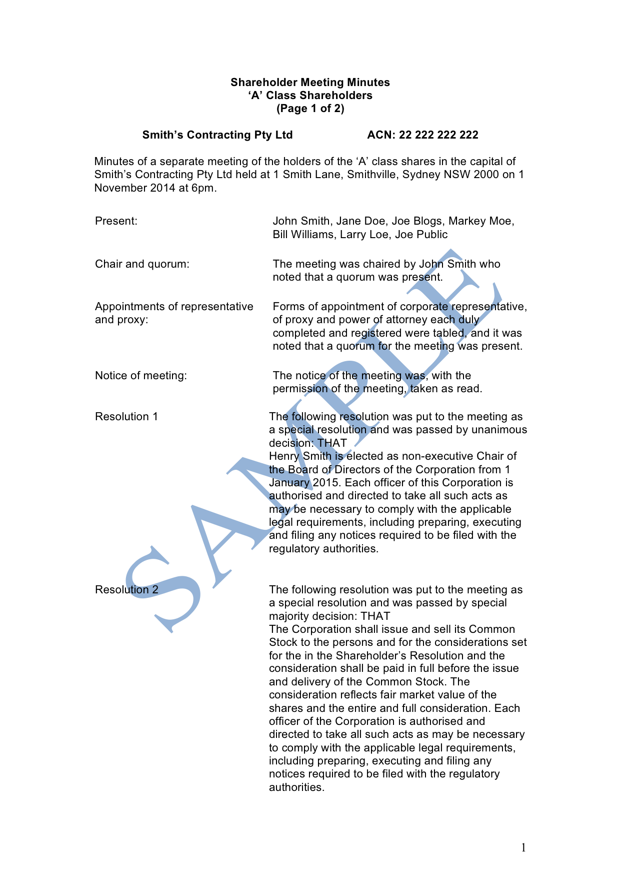 shareholder meeting minutes - free template