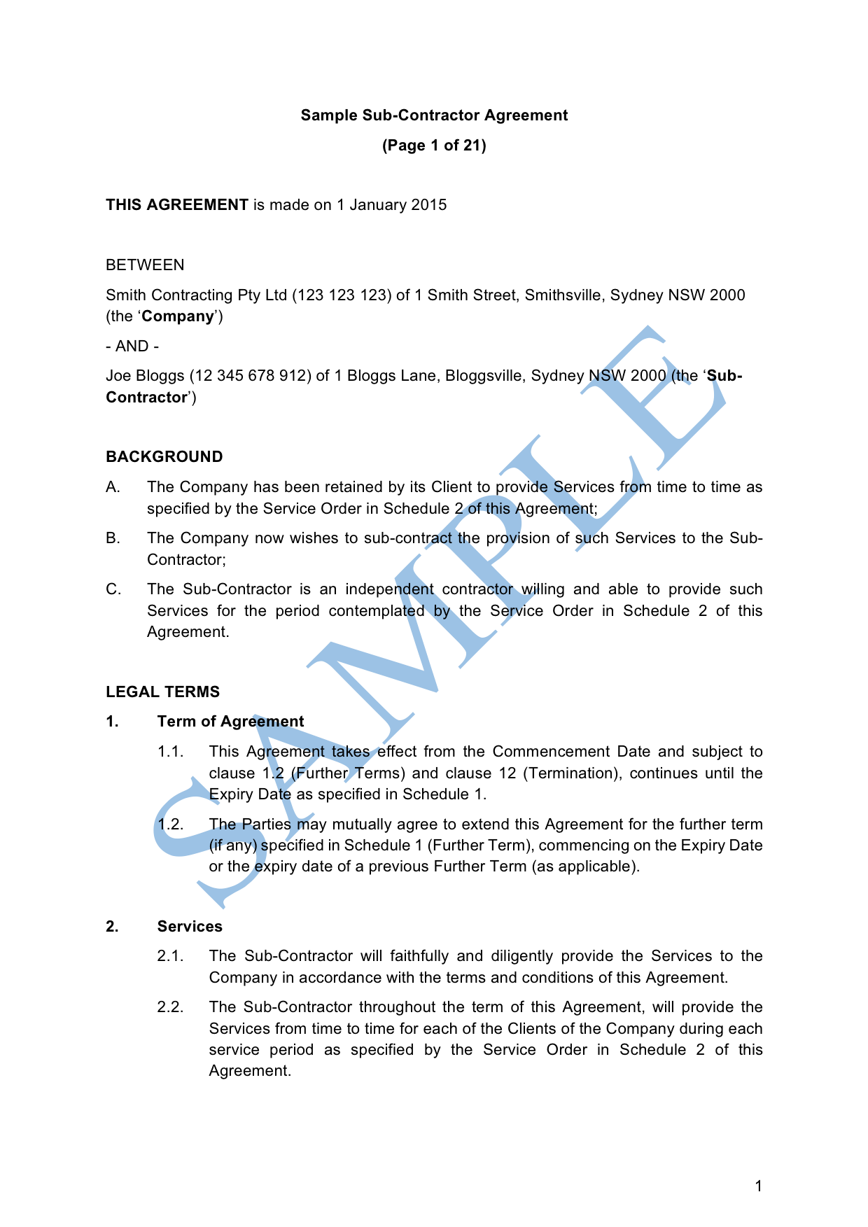 Sub Contractor Agreement Sample Lawpath