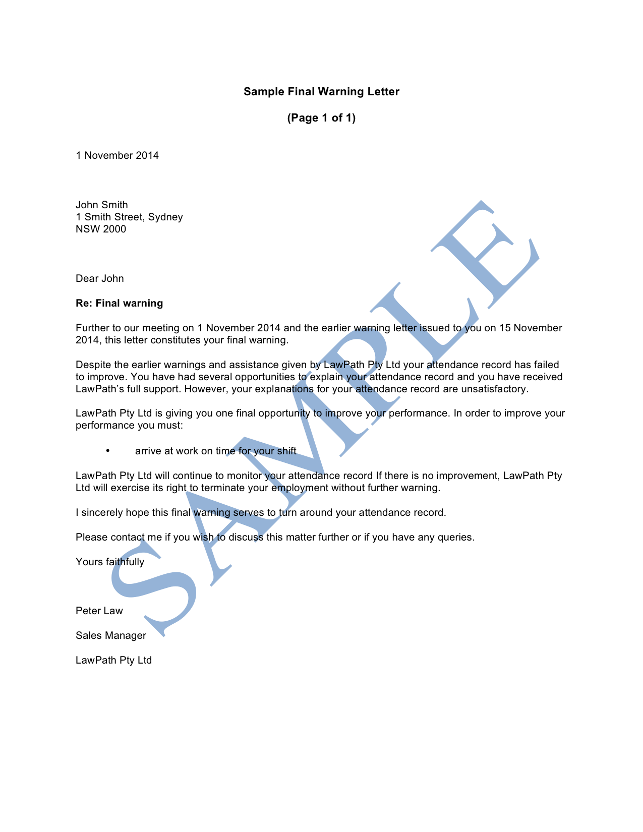 Sample warning letter for poor job performance cover warning letter final warning letter sample lawpath spiritdancerdesigns Choice Image