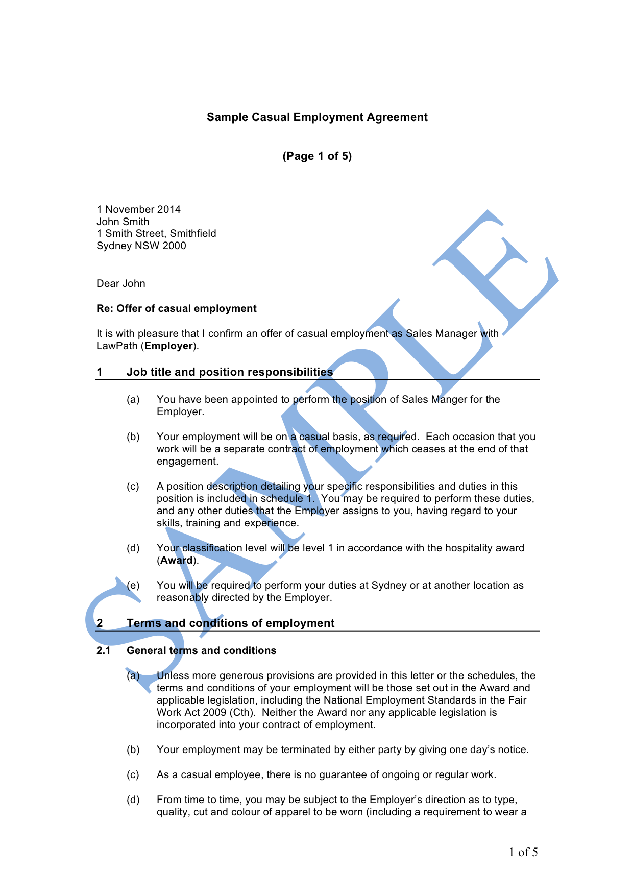 Employment Agreement (Casual)