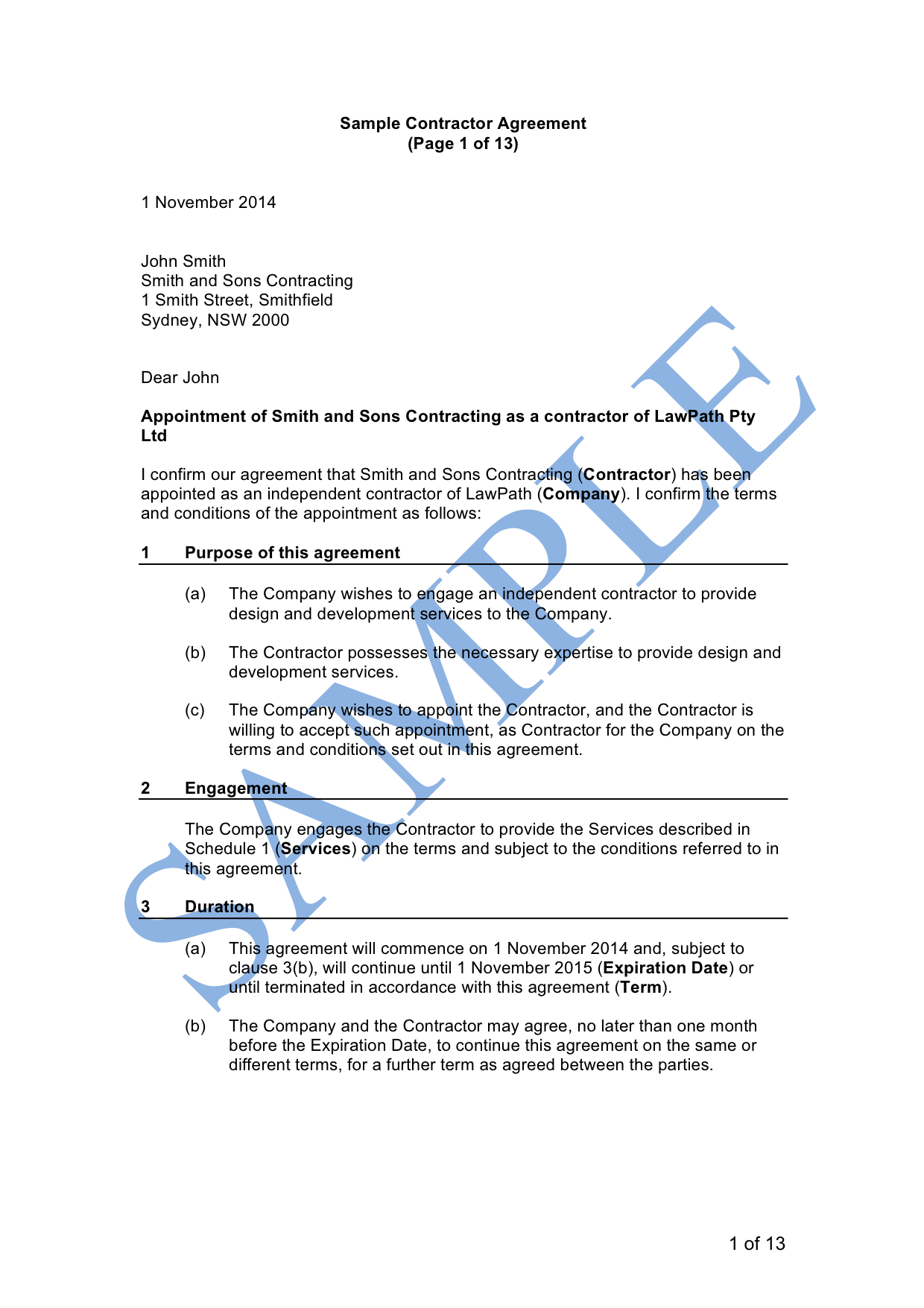 Contractor Agreement (Company)