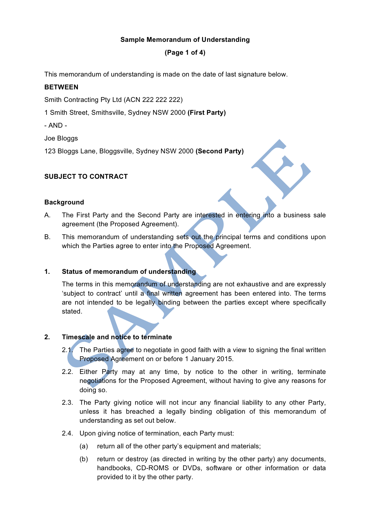 Memorandum Of Understanding Template | Memorandum Of Understanding Sample Lawpath