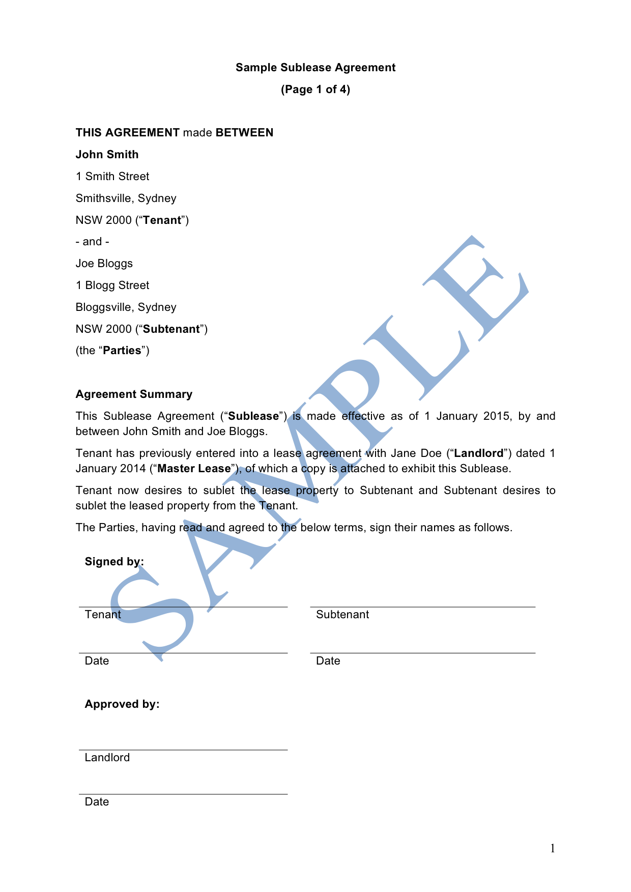 Sublease Agreement Free Template Sample Lawpath
