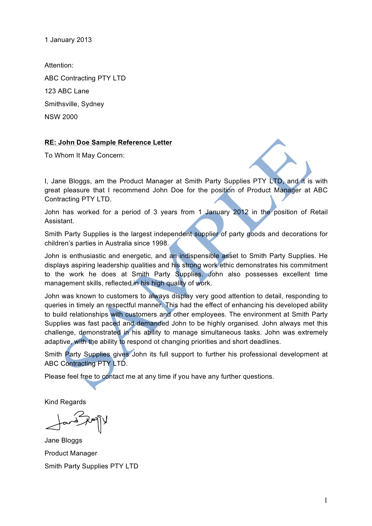 Reference Letter (Business)