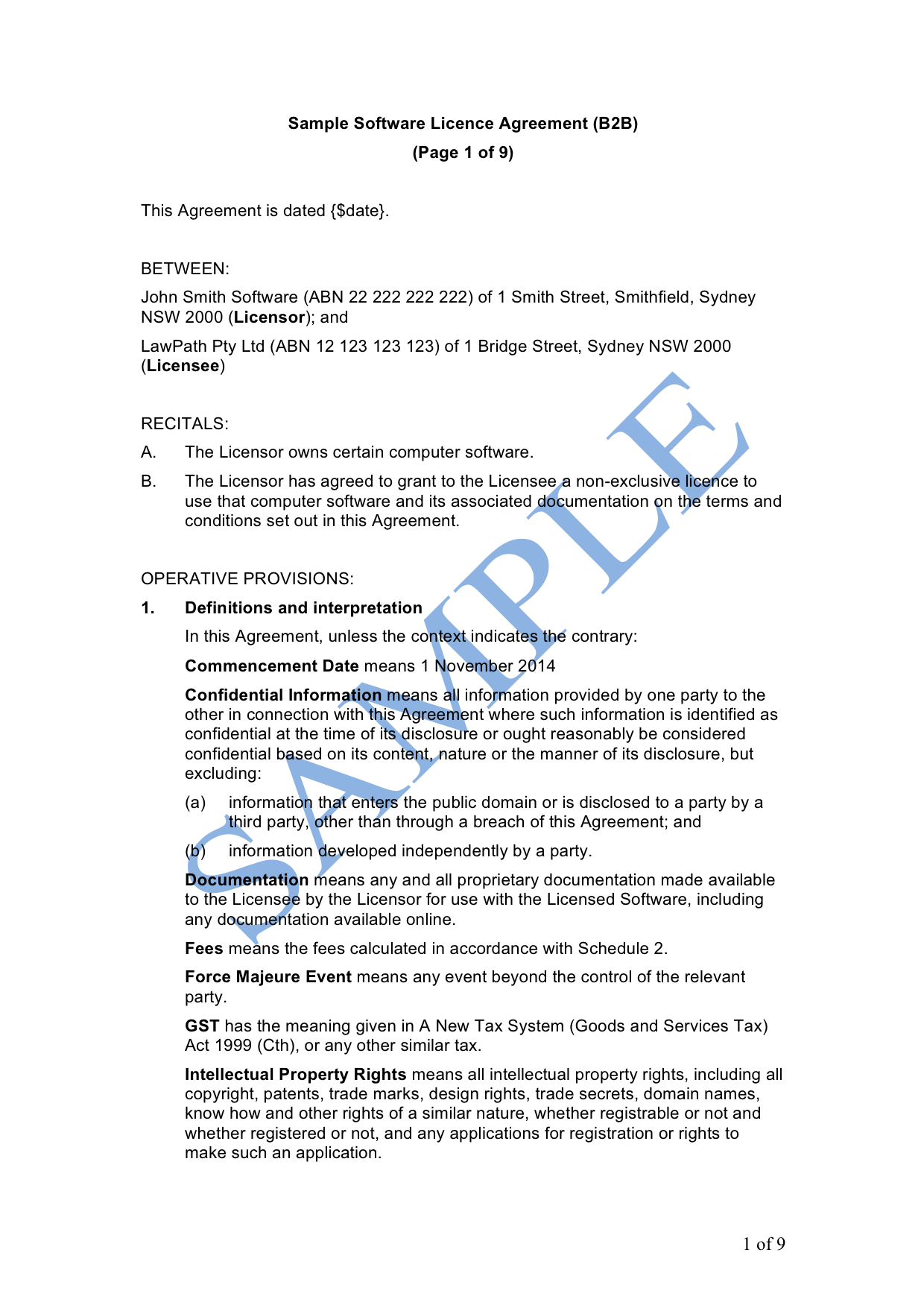 Software License Agreement Licensor Free Template