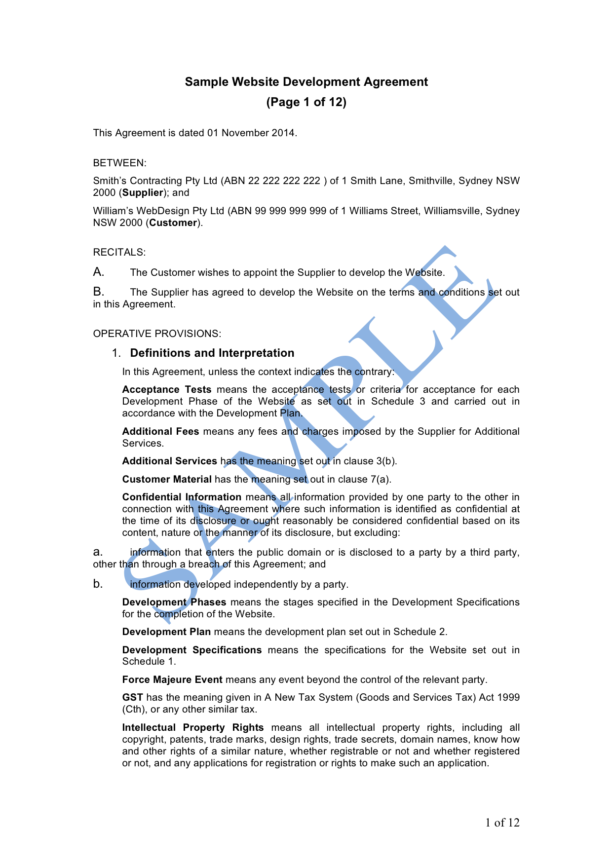 Website Development Agreement Free Template Sample Lawpath