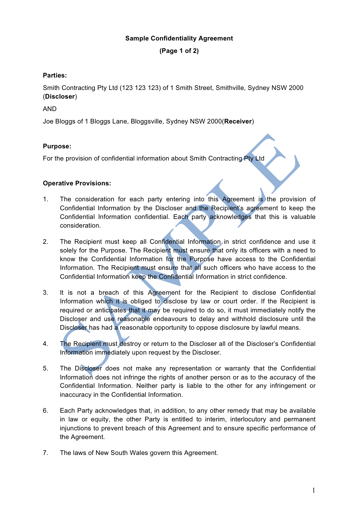 Confidentiality Agreement Sample Lawpath