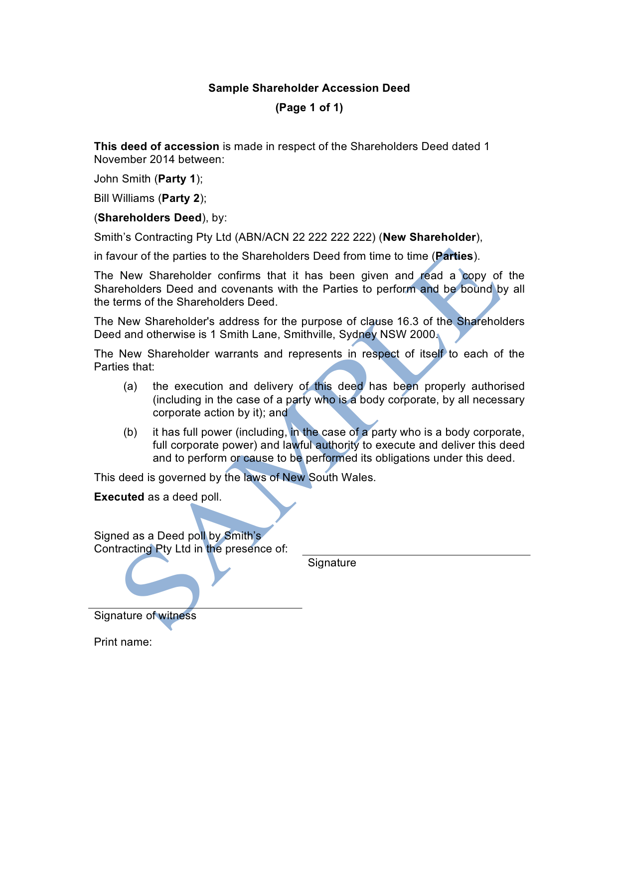 Shareholder Accession Deed
