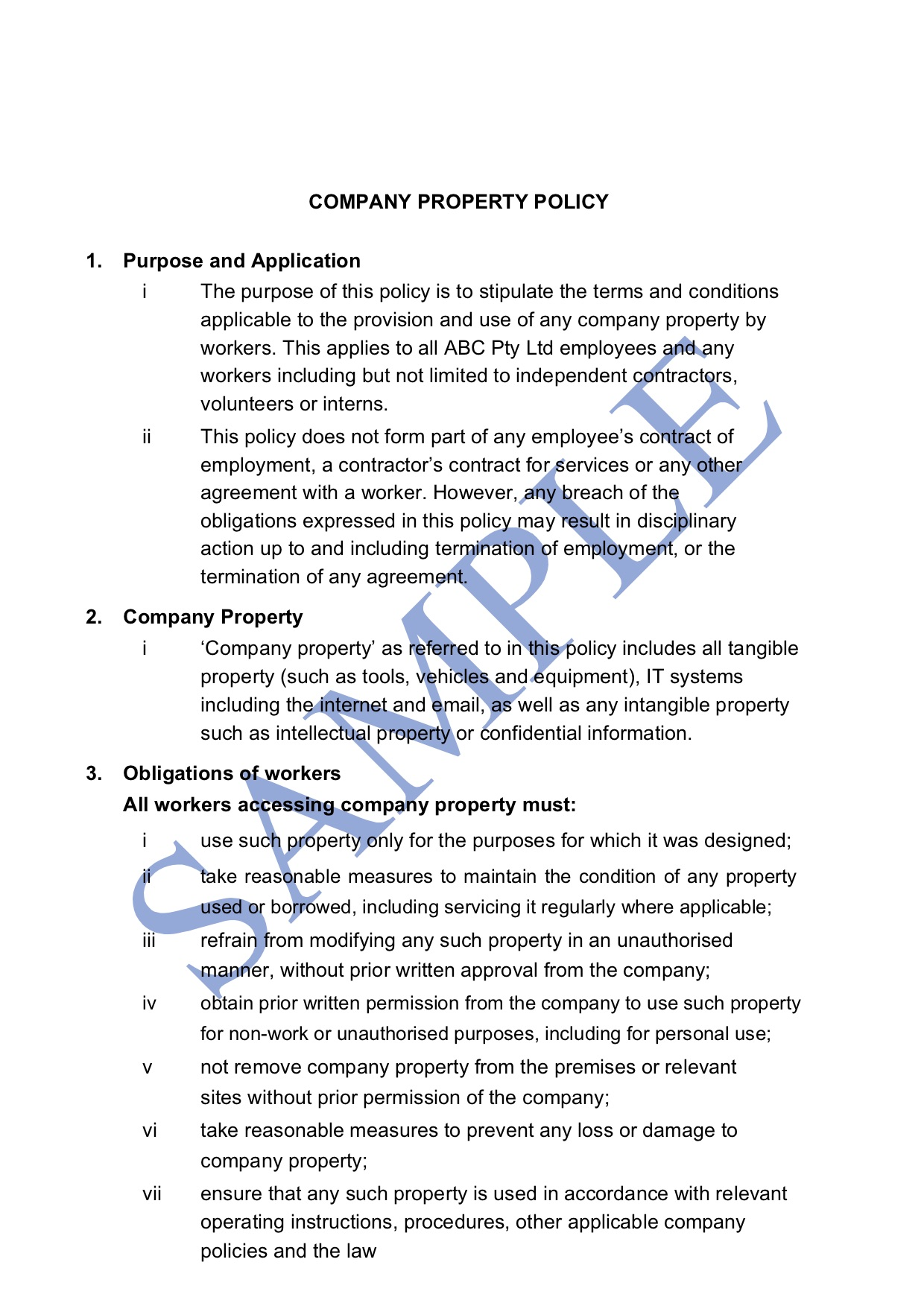 Use of Company Property Policy