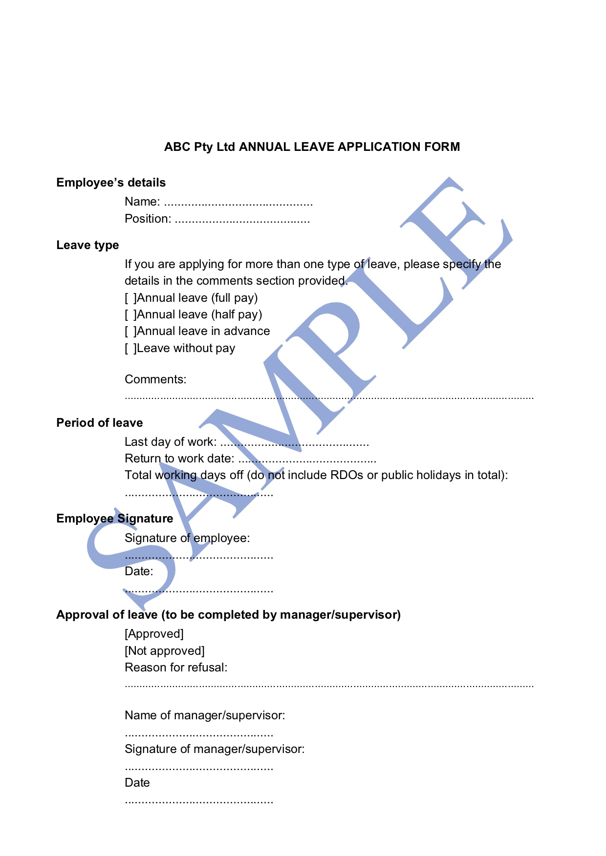 Annual Leave Application Form