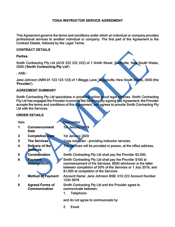 Yoga Instructor Service Agreement