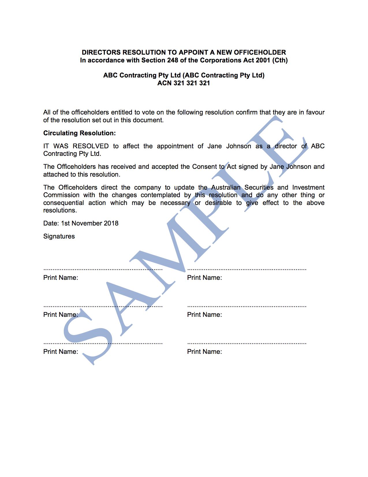 Directors Resolution (General)