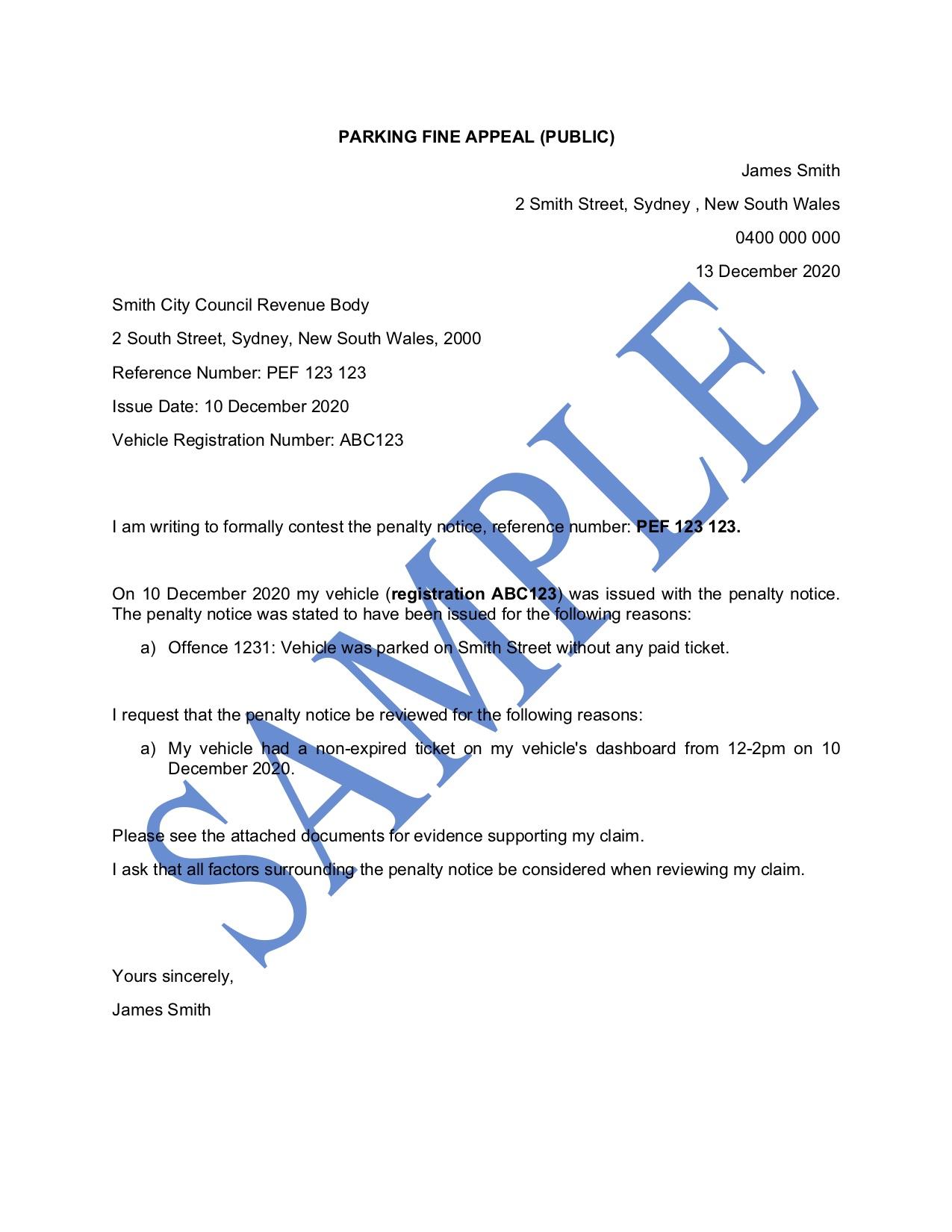 Parking Fine Appeal Letter